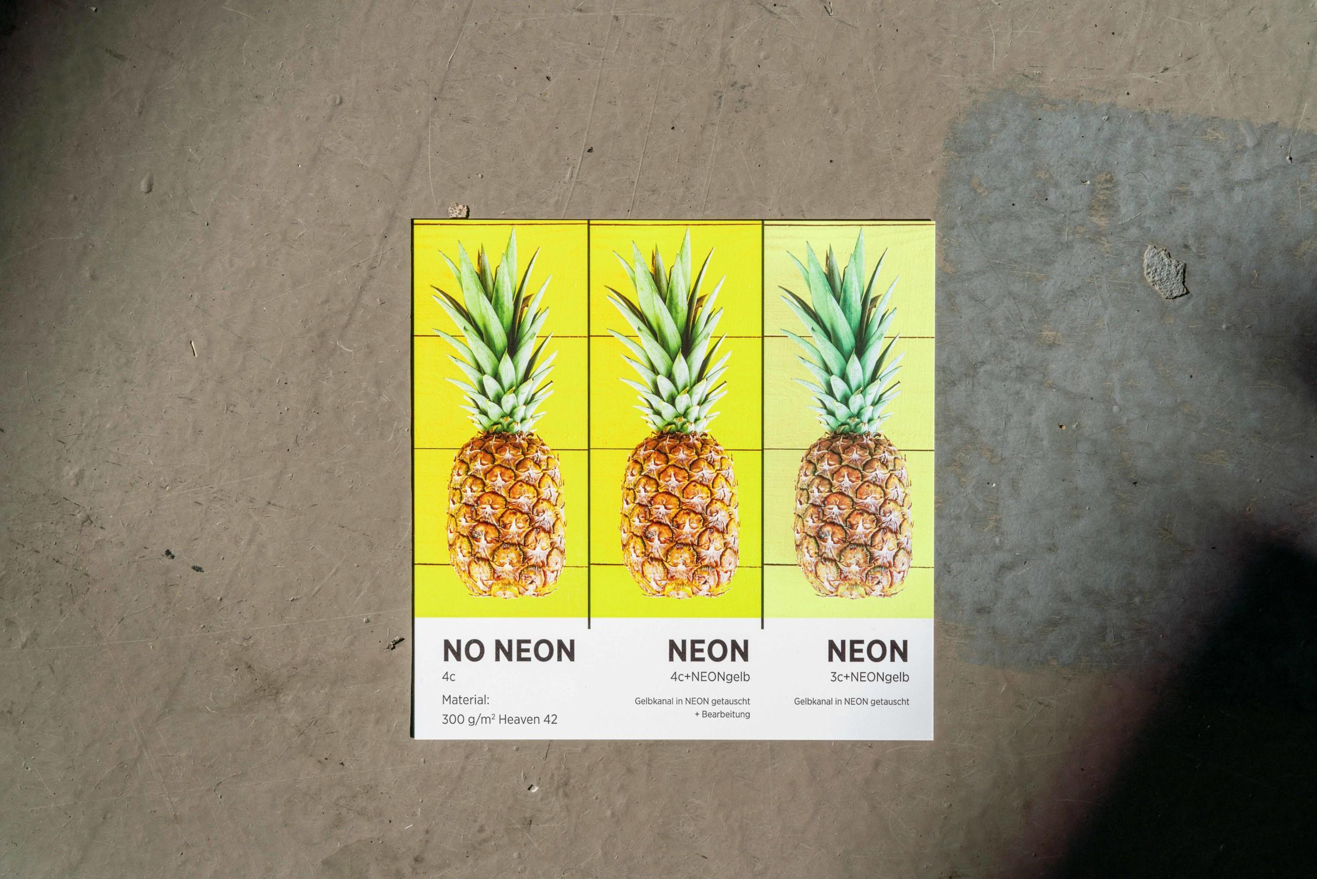 Präsentation wie NEON Gelb sich auf die Farbigkeit eines Motives auswirkt
