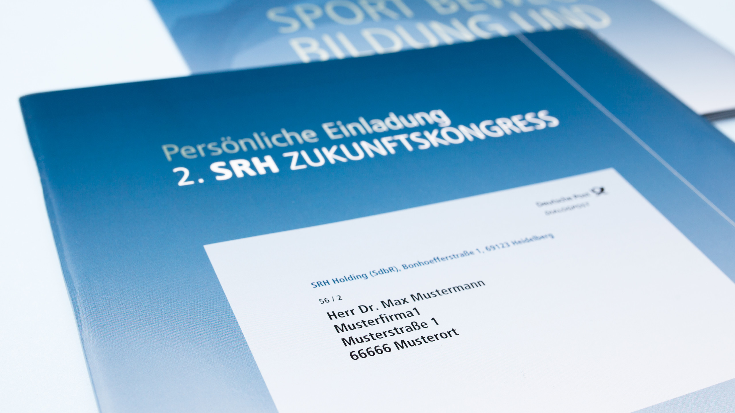 SRH Zukunftskongress, hochwertiger Selfmailer in Blau