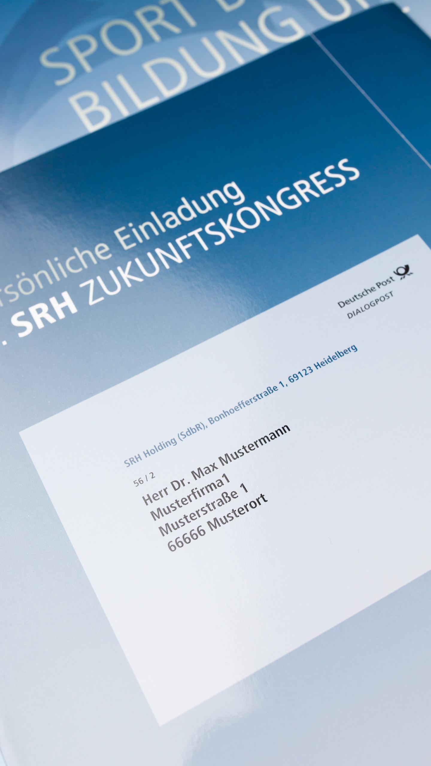 SRH Zukunftskongress, Selfmailer in Blau mit Personalisierung