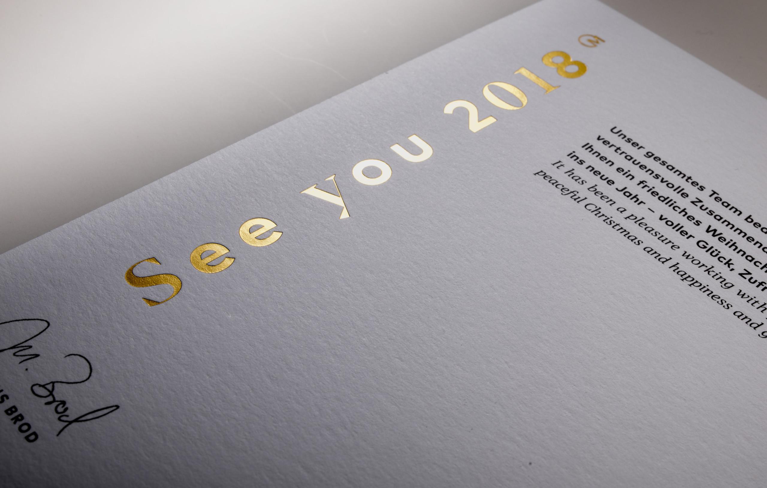 Heißfolien Prägrung Neujahrskarte